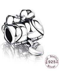 Zxx Jewelry Pareja pájaro 925 Plata esterlina cuelga para amuletos Europeos Pulseras dijes Pareja día de San valentín día conmemorativo Esposa Regalo - Regalo en Caja