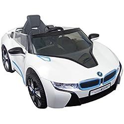 Voiture-Batterie BMW i8 Blanc - 6V - inkl. MP3 et télécommande - dès 3 ans