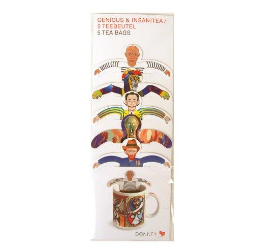 DONKEY Products Teaparty Genious und Insanitea, Schwarztee, Assam-Tee, Künstler, 5 Teebeutel, 200312