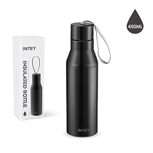 INTEY Thermos Bottle Doble Thermo Mug de acero inoxidable El frasco de vacío mantiene las bebidas calientes o frías, Sports Bottle para Camping Cycling etc. 450ml / BPA gratis