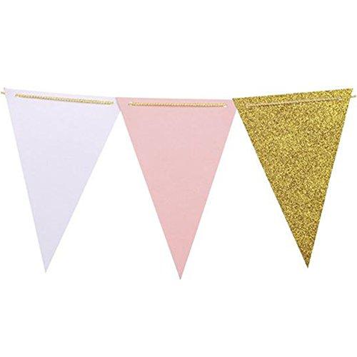nde Wimpelkette Dreieck Fahnen Hochzeit Geburtstag Party Dekor Papier Gold Weiss und Rosa ()