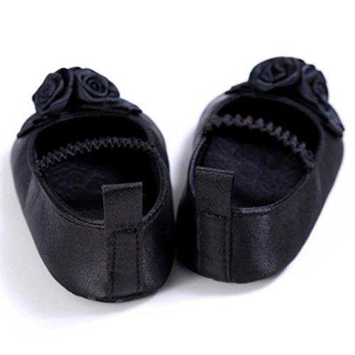 Kingko® Baby Blume Schritt Schuhe Säugling Kinder Mädchen Weiche Sole Krippe Kleinkind Neugeborene Schuhe (0~18 Monat) Schwarz