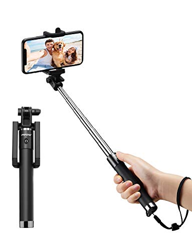 Mpow Bastone Selfie Bluetooth iSnap X Selfie Stick Monopiede Selfie Stick Espandibile con Bluetooth Remote Shutter Compatibile con iPhone/Android Nero