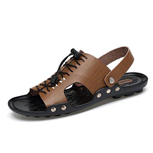 GAOJIAN Neue Ultra-Faser Sandalen Casual Beach Schuh Sandalen Mode Persönlichkeit Niet Hausschuhe Junge Herren Schuhe Schöne Sandalen Anti-Rutsch Khaki