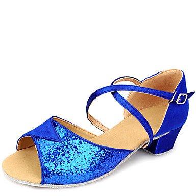Silence @ Kid latine Chaussures de danse Sandales satiné Chunky Talon Doré/argenté/bleu/fuchsia bleu