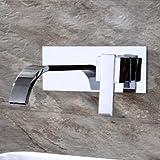 Hlluya Wasserhahn für Waschbecken Küche Das Kupfer kalt Wasserhähne in der Wand montiert Waschbecken Armaturen Wasserfall