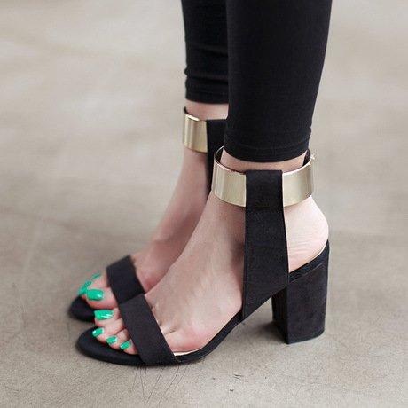 GS~LY Metallo spessa di Sandali donna con tacco alto scarpe grandi misure Black