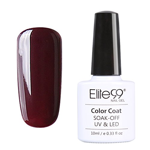 Elite99 Vernis A Ongles Semi Permanent Gel UV ou LED Soak Off Manucure Serie Bordeaux 10ml 008