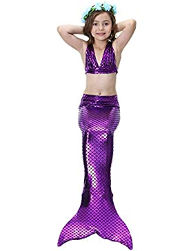 Das Beste Mädchen Meerjungfrauen Bikini Kostüm Meerjungfrau Schwimmanzug Badeanzüge Tankini (110, Lila), 110,...