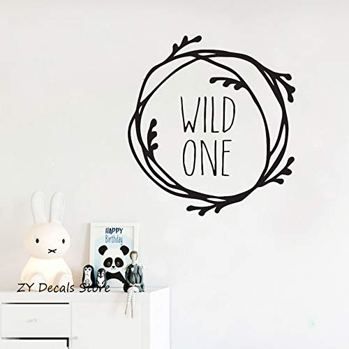 Geiqianjiumai Wilde Nr. 1 Zitat Wandtattoos Schlafzimmer Moderne Kindergarten dekorative wasserdichte Aufkleber Hause Wandaufkleber dekorative schwarz 56X60CM