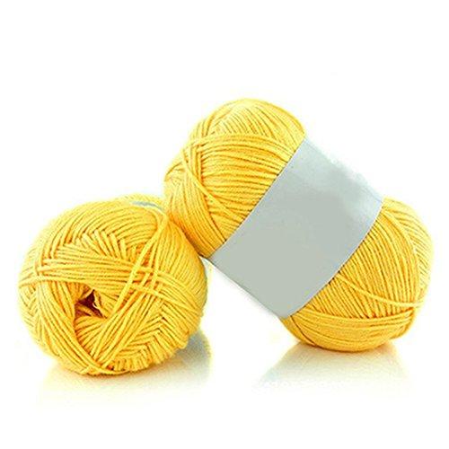 Verlike - 1 matassa in filato di cotone e bambù morbidi per lavori a maglia e uncinetto per bambini, 50 g, #4 yellow, taglia unica