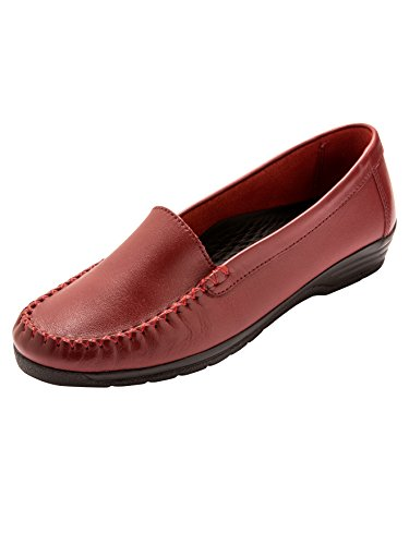 Pediconfort - Mocassins à Plateau Lisse Cousu Main, Largeur Confort - Femme - Taille : 38 - Couleur : Rouge