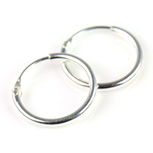 MSQ 925 Sterling Silver Fine Hoop Earring with Endless Hoop Earrings - Criolla Hoop Earrings - Diameter: 10 mm