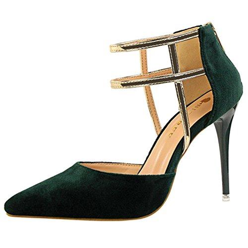 Oasap Women's Pointed Toe Ankle Strap Back Zipper Stiletto Sandals Deep green