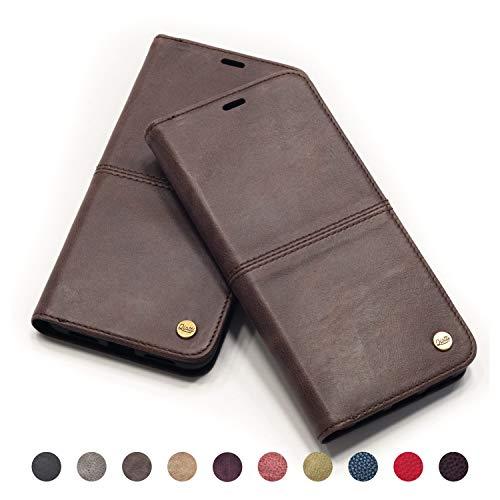 QIOTTI - iPhone 8 I iPhone 7 Tasche Leder Case I RFID NFC Schutz I Ledertasche Kartenfach Standfunktion Echtleder Hülle Lederhülle Ledercase Handyhülle Echtledertasche (Kaffee BRAUN)