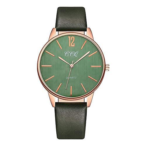 Uhren Grün Reloj Mujer Round Digital Dial Lederband Quarz Armbanduhren Damenuhren Damen Simple Clock
