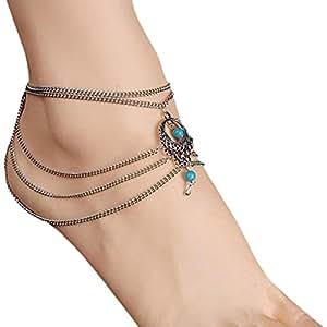 1PC Vintage Turquoise Jewelry Anklet Chain Tassel Bride Barefoot Sandals Beach Wedding Ankle Bracelet Crochet Anklets for Women