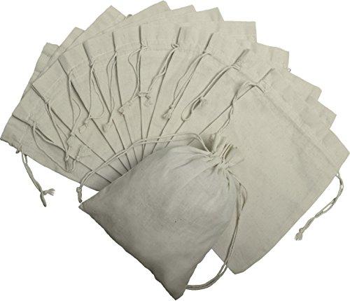 DR 100 Prozent Baumwolle Beutel Mit Kordelzug, Stoffsack Mit Band Zum Zuziehen - Organisch Und Natürlich - (20x25, Weiss) - Weiße Baumwoll-kordelzug
