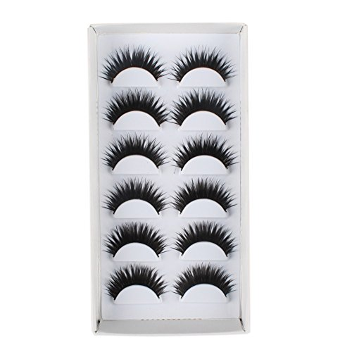TAIWAN False EyeLashes 1 Box 6 Pairs Thick Black False Eyelashes Makeup Tips Natural Smoky Makeup Long Fake Eye Lashes