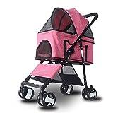 YCYG Haustier Hund Kinderwagen Kinderwagen Hundewagen kann getrennt und zusammenklappbar leichtes Material kleine und mittlere Teddy Hund Katze Sein (Color : PINK)