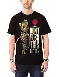 Marvel Guardians of The Galaxy T Shirt Groot and Button Comics Offiziell Herren
