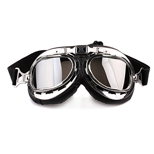 Butterme Motorrad Schutzbrille Raf Aviator Vintage Pilot Biker Cruiser Pilot Fliegerbrille Motocross Cruisers Windproof Sun UV Wind Eye Protect Helmmaske Eyewear Sport Schutzbrille (Raf Pilot Kostüm)