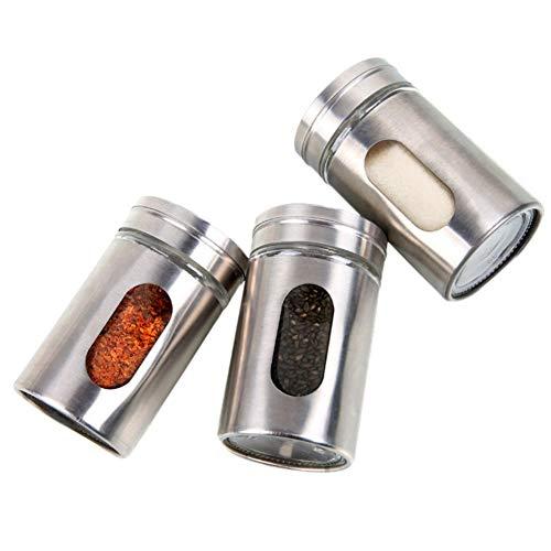 BOENZN Kitchen Gewürzdosen Behälter Edelstahl Glas Salz- und Gewürzstreuer Pfeffer Zucker Gewürzgläser (2,81 oz) (Klar, Salz-und Pfefferstreuer)