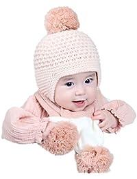 VENMO Bebé Sombrero y Bufandas, Invierno Niños Niñas Cálidos de Lana Cofia Capucha Gorras y Bufanda Conjunto (Rosa)