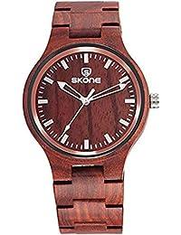 Hermosos Relojes Reloj de Cuarzo Unisex Skone Zebra Patron Reloj de Madera Madera