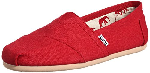 V0100D Toms Classic Womens Red Canvas Flat Pumps Espadrilles Shoes Size Uk...
