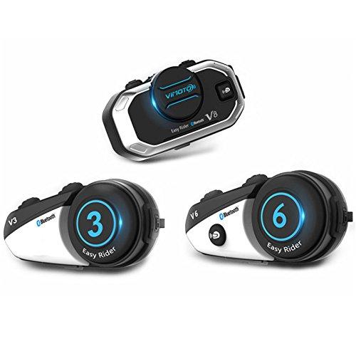 V8Head-Mounted Wireless Bluetooth Headset Wireless Walkie-Talkie für 500Meter Freisprecheinrichtung Unterstützung für die Letzten Wahlwiederholung für Outdoor, Schwarz (Multi-channel-intercom)