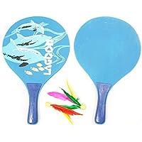 SueSupply Spiel Set Racket Strandball Badminton Federball Schläger Cricket Ball und Familie Training Kinder Büro Outdoor Sport, Zufällige Farben