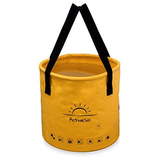 Active Sol Falteimer 10L | Robust, faltbar, platzsparend für unterwegs | Garten, Outdoor, Angeln & Camping | Vielseitig einsetzbar: Kinder-Eimer, Reisenapf Hund, Strandspielzeug uvm.