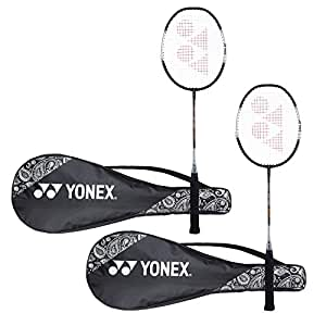 Yonex ZR 100 Light  Aluminum Blend Badminton Racquet with Full Cover, Set of 2 (Black/Black)