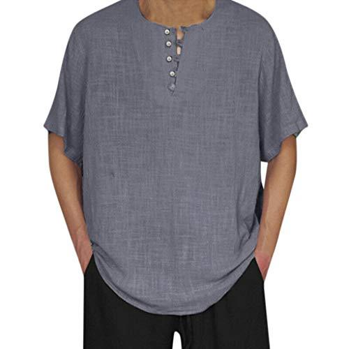 TEBAISE Leinenhemd Herren Traditionelle Leinen Lässige Kurzarm Hemden Thai T-Shirt Goa Hippie Fischerhemd 2019 Sommer Vintage Rundhalsausschnitt Oberteile Bluse Bequemer Schnitt Mit Knopf Vatertags