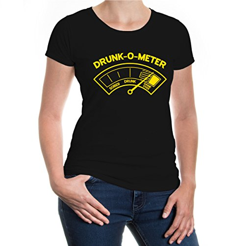 buXsbaum® Girlie T-Shirt Drunk-O-Meter Black-Sunflower