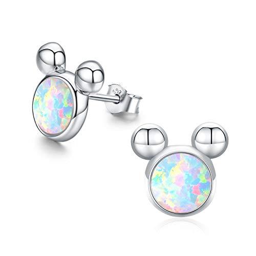 Maus Ohrringe Opal Ohrringe für Kinder Erwachsene Damen Maus Earbob Schmuck Sterling Silber Maus Stud M Maus Ohrstecker für Frauen Mädchen Geschenke (Silber)