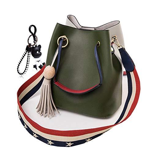 DEERWORD Damen Henkeltaschen Damenhandtaschen Handtaschen Schultertaschen Shopper PU-Leder Grün V2