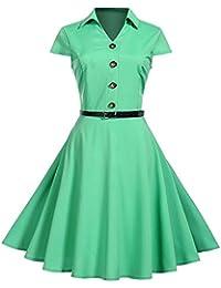 84b55a1fd Sylar Vestidos De Fiesta Mujer Hepburn Color Sólido Botón De Solapa Casual  Vestido De Playa Vestido Fiesta Ropa…