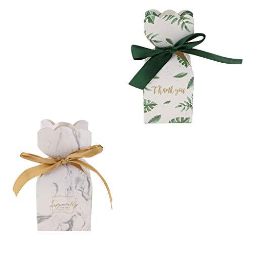 FLAMEER 20 Unidades Cajas de Caramelo con Cintas Verde Bolsas de Chocolate Nupcial Regalo para Clientes