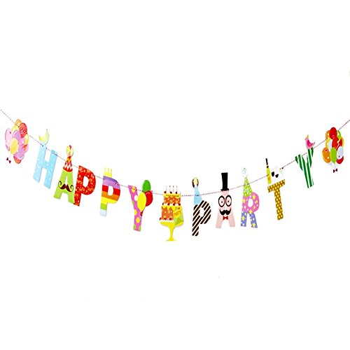 Happy Party Banner, Geburtstag Dekorationen Gastgeschenken Personalisierte Party Banner Kit für Geburtstag und Baby Dusche Party Dekorationen