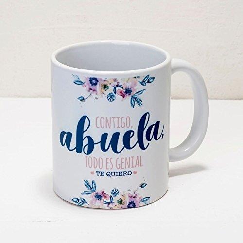 Mopec Taza Contigo Abuela, Porcelana, Blanco, 8.1x8.1x9.5 cm
