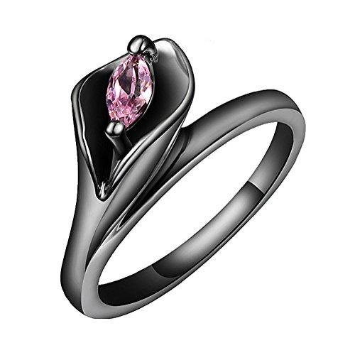 AIUIN, anello nero in lega di alta qualità, con zirconi A5, adatto per fedi nuziali per uomo e donna, opaco, comodo da indossare e Argento, 56 (17.8), colore: Lilla, cod. JIKLLO