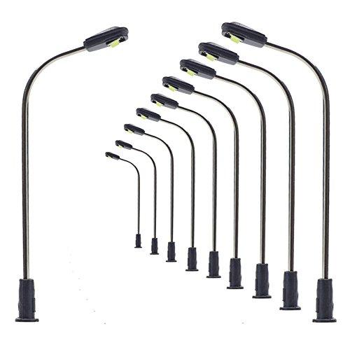 10 Stk. Peitschenlampen LED 50mm N / Z Straßenlampen flexible Höhe LQS05 (N Spur Modelleisenbahn)