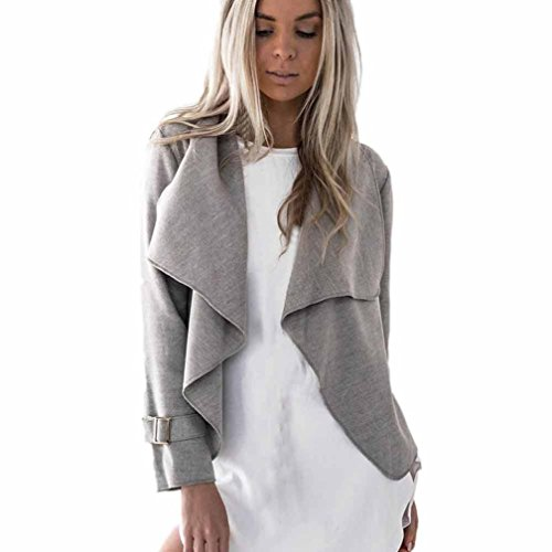 Sannysis Damen Wolle Cardigan Mantel Trenchcoat Übergangsjacke Mantel Jacke (L, Grau)