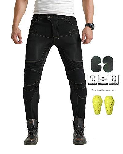 Geling jeans da moto da uomo kevlar motociclista pantoloni rinforzati con protettivo armours,nero,l
