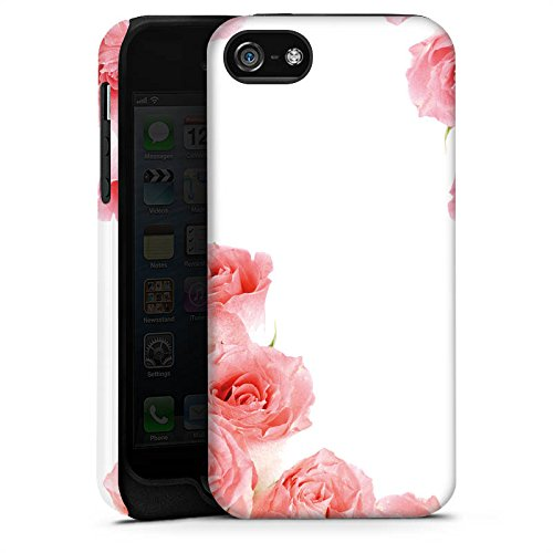 Apple iPhone X Silikon Hülle Case Schutzhülle Rosen Blüten Pink Tough Case matt
