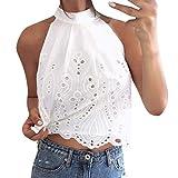 DEELIN Frauen Weste Neckholder Cami T Shirt Damen Sommer Beach Party Tops Bluse Tee