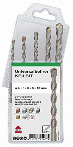 """Keil 166 260 410 KeilBIT - Juego de brocas universales (hexagonal, 1/4"""", 5 unidades, 4, 5, 6, 8 y 10 mm)"""