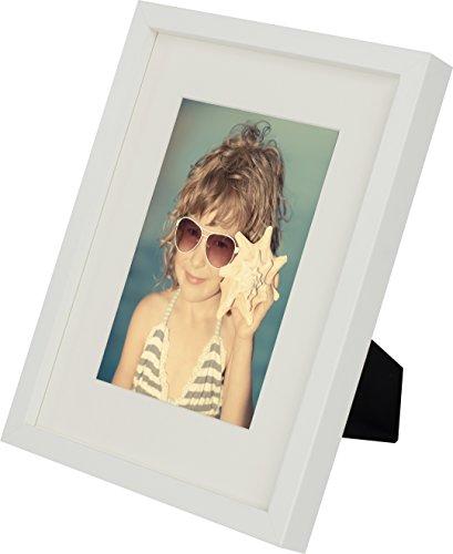 20 x 25 cm Bilderrahmen mit Passepartout 13 x 18 cm, Weiß